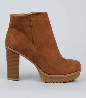 Wide Fit Tan Platform Ankle Boots
