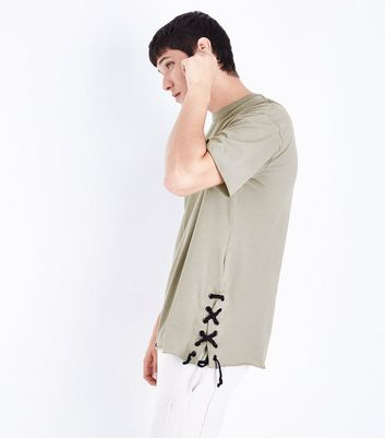Olive Green Lace Up Side Split T-Shirt