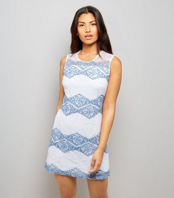 Mela White Zig Zag Stripe Lace Dress