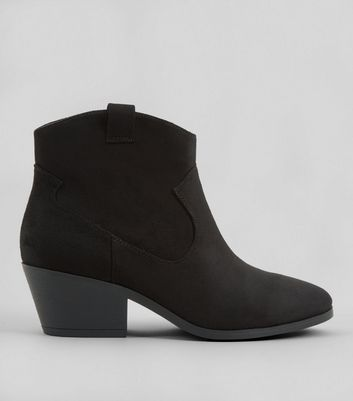 Wide Fit Black Suedette Western Boots