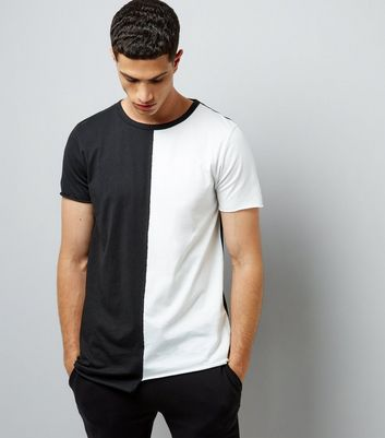 White Colour Block Asymmetric T-Shirt