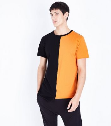 Orange Colour Block Asymmetric Hem T-Shirt