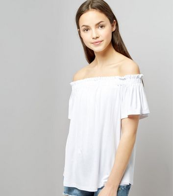 Teens White Bardot Neck Top