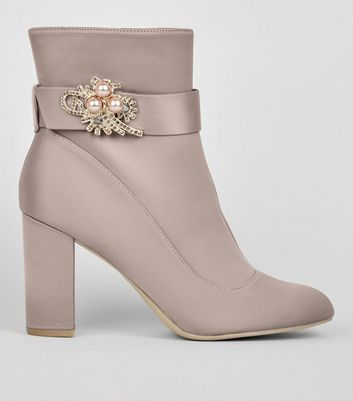 Wide Fit Grey Satin Embellished Ankle Boots