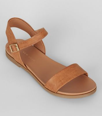 Wide Fit Tan Open Toe Sandals