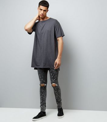 Black Ripped Paint Splatter Skinny Jeans