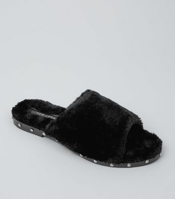Black Faux Fur Stud Mules