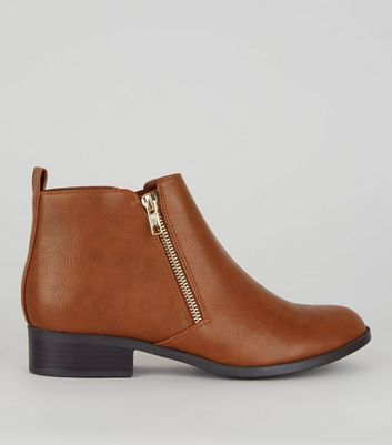 Tan Zip Side Boots