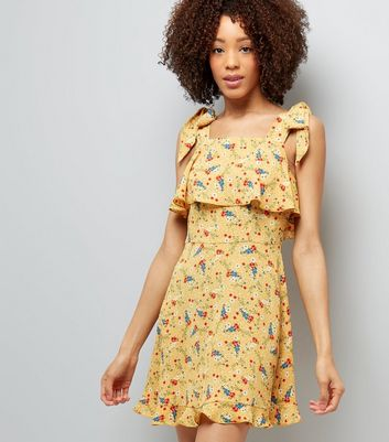 Yellow Floral Print Tie Shoulder Sun Dress