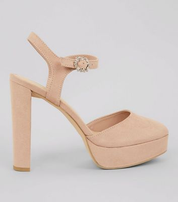Nude Pink Suedette Platform Court Shoes