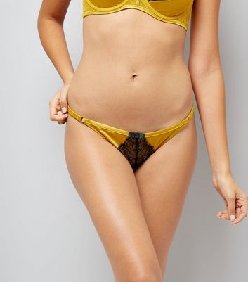 Yellow Satin And Lace Briefs