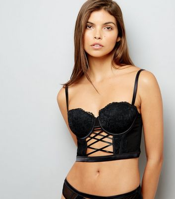 Black Lace Lattice Front Longline Bra
