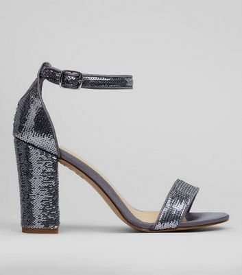 Silver Sequin Block Heel Sandals