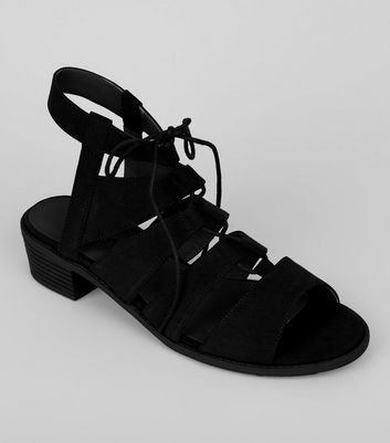 Black Suedette Tie Up Ghillie Sandals