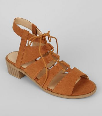 Tan Suedette Tie Up Ghilli Sandals