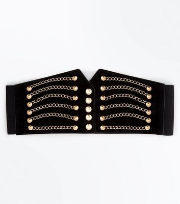 Black and Gold Chain Detail Corset Belt