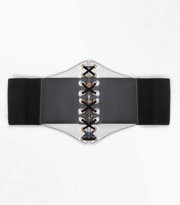 Black Clear Panel Corset Belt