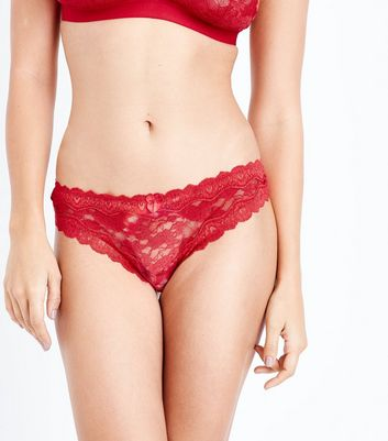 Red Floral Lace Trim Thong