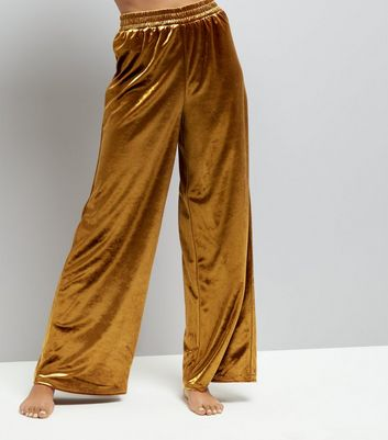 Gold Velvet Wide Leg Trousers
