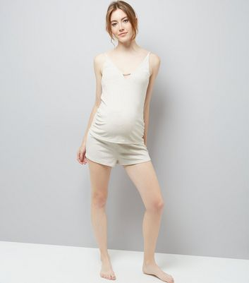Maternity Cream Satin Trim Jersey Pyjama Shorts