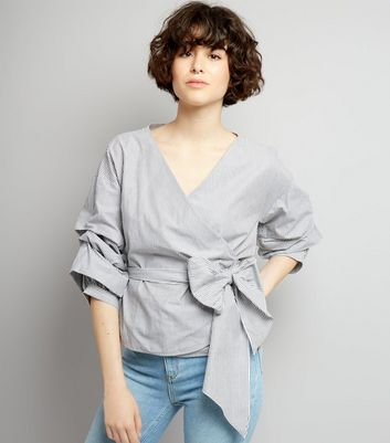 Grey Stripe Ruched Sleeve Wrap Front Top