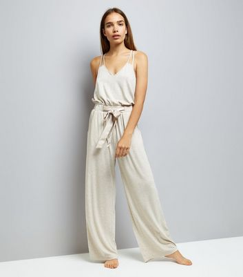 Cream Bruched Jersey Satin Tie Lounge Jumpsuit