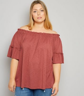 Curves Orange Bell Sleeve Bardot Neck Top