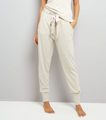 Cream Satin Belt Brushed Jersey Pyjama Joggers