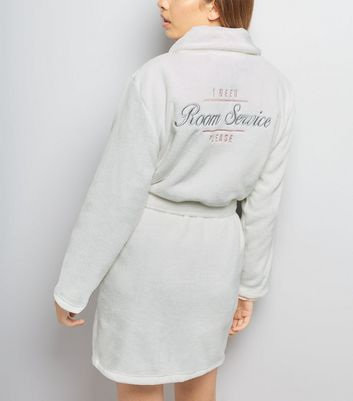 Cream Slogan Embroidered Robe