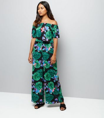 Petite Black Tropical Print Wide Leg Trousers