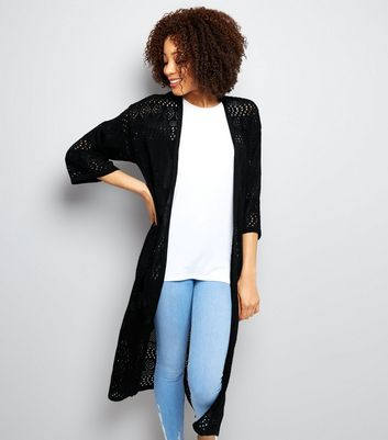 Black Crochet Maxi Cardigan