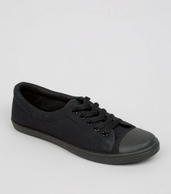 Teens Black Lace Up Trainers