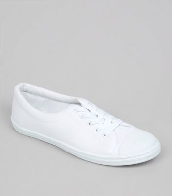 Teens White Lace Up School Plimsolls