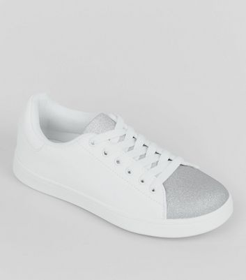 Teens Silver Glitter Panel Trainers