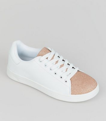 Teens Rose Gold Glitter Panel Trainers