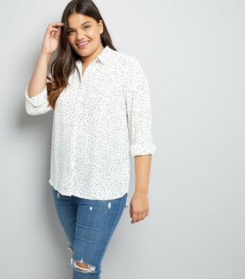 Curves White Polka Dot Print Shirt