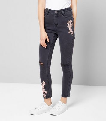 Teens Black Floral Embroidered Skinny Jeans