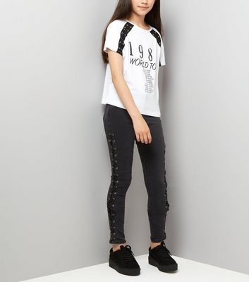 Teens Black Lattice Side Skinny Jeans