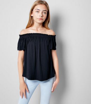 Teens Black Bardot Neck Top