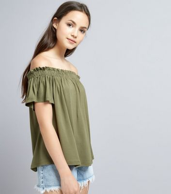 Teens Khaki Bardot Neck Top