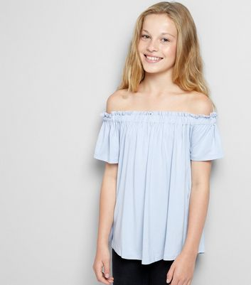 Teens Pale Blue Bardot Neck Top