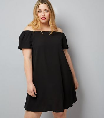Curves Black Ruched Sleeve Bardot Neck Dress