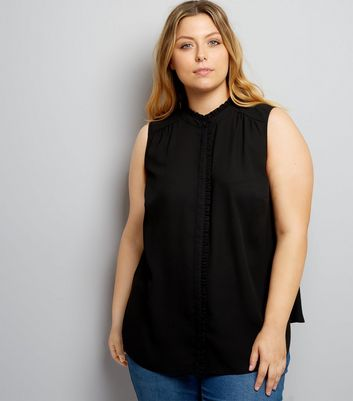 Curves Black Frill Trim Sleeveless Shirt