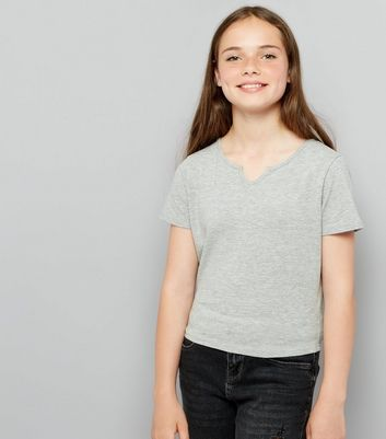Teens Grey Notch Neck T-Shirt
