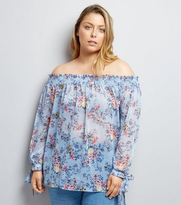 Curves Blue Floral Print Shirred Bardot Neck Blouse