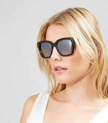 Black Diamante Embellished Mirrored Sunglasses