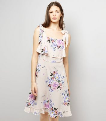 Tall Pink Floral Print Tie Strap Dress