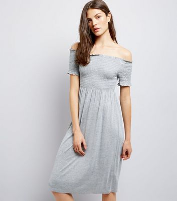 Tall Grey Shirred Bardot Neck Midi Dress