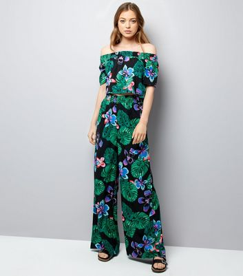 Tall - Pantalon noir à imprimé floral tropical