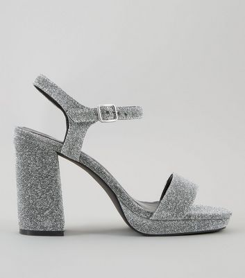 Wide Fit Silver Glitter Heeled Sandals